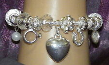 New 925 Sterling Silver Filled and Clear Crystal Fashion Charm Bracelet