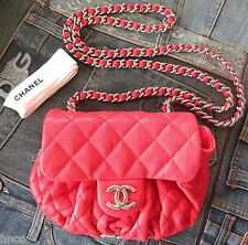 .AUTHENTIC CHANEL CORAL LEATHER MEDIUM CHAIN AROUND MESSENGER BAG WITH CARD