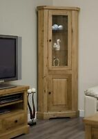 Regent solid oak furniture glazed corner display cabinet unit