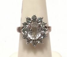 Unusual 925 Sterling GREEN Sillimanite & Sapphire Cocktail Ring - Sz. 4