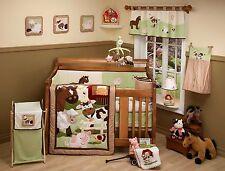 Nojo Farm Babies Animals 8 piece crib set quilt bumper sheet skirt horse cow