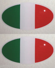 Ducati Bimota MV Agusta Pair Gel Domed Oval Italian Flag Decal (3cm x 1.5cm)