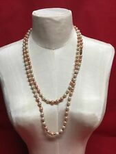 Vintage Flapper Length Bi Colored Pink Round Beaded Metal Spacers Necklace