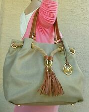 Michael Kors Marina Gold Metallic Canvas Drawstring cinch Purse tote satchel EUC