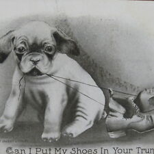 Vtg 1909 Dog Puppy Postcard - Postmarked Stamp - Can I Put My Shoes in Your Bag