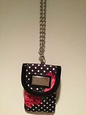 Adorable Betsey Johnson Small Polka Dot Rose Clutch Handbag With Silver Chain