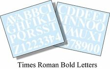52 X 2 inch (50mm) WHITE TIMES ROMAN LETTERS AND NUMBERS VINYL SELF ADHESIVE DIY
