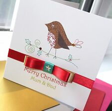 Personalised Handmade Christmas Card Robin by Charlotte Elisabeth X009