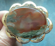 Attractive Vintage LARGE  Scottish 9ct Yellow Gold Moss Agate Brooch -  h/m 1967