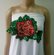 VF209 Glitter Rose Peony Leaf Embroidered Sequin Applique Motif Chic/Fashion