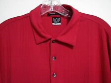 Tiger Woods M Dri Fit Nike Red Ribbed Polyester Golf Polo Short Sleeve Shirt Men