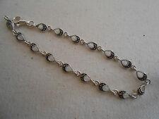 Narrow Sterling Silver Marcasite Link Bracelet   291006