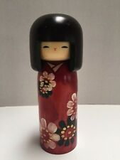 "VTG WOODEN Kokeshi Doll  Made In Japan 7.5"" Tall Painted Flowers"