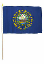 "12x18 12""x18"" State of New Hampshire Stick Flag wood Staff"