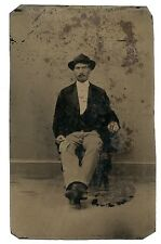 rare unusual 6th plate tintype wealthy dude rich gold ring money cash gold rush?
