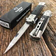 NEW Black Italian Milano Stiletto Tactical Spring Assisted Open Pocket Knife.