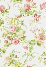 Wallpaper Cottage English Floral Bouquet Vine Pink Green Yellow on White