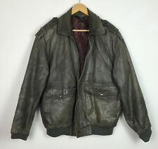 VINTAGE RETRO GREY REAL LEATHER JACKET AVIATOR GRUNGE COAT 80s UK M