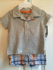 NEW CARTERS 6 MONTHS 2 PIECE SET ORANGE AND BLUE SHARK  EVERYDAY EASY
