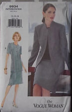 Uncut 90s Jacket & Skirt Suit Vogue 9934 Vtg Sewing Pattern B 36 38 40