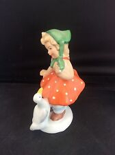Art Deco Gerald Porzellan Bavaria German Porcelain Figure polka dot Girl & Goose
