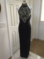 Papell Boutique Evening Black Sequin Beaded Silk Evening Gown NWT Size 4