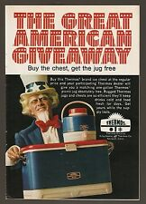1973 KING SEELEY THERMOS PRINT AD~COOLER ICE CHEST~UNCLE SAM PATRIOTIC