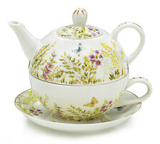 burton+Burton Porcelain Tea for One Set  Stacked Teapot & Cup MAJESTIC MEADOWS