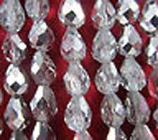Wholesale 100pcs clear teardrop glass crystal spacer beads 7mm