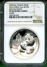 CHINA  2014  OFFICIAL PANDA ISSUE   MACAU SHOW   NGC PF 69 ULTRA CAMEO SILVER