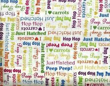 Quilting Treasures ~ Easter Sayings Just Hatched ~ 100% Cotton Quilt Fabric BTY