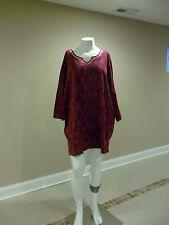 Catherines women's plus 3/4 sleeve knit top Paisley Deep Fuschia 3X(26w-28w) New