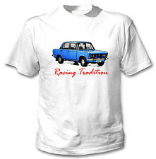 POLISH FIAT 125P BLUE INSPIRED RACING TRADITION - WHITE COTTON TSHIRT