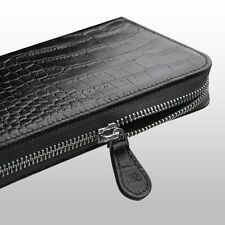 Black Luxury Crocodile Genuine Leather Wallet Case For Samsung Galaxy S7, Edge