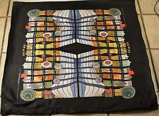 "VINTAGE AUTHENTIC HUNDERTWASSER 1978 ESCAPE OF THE INDOOR SKY 34"" SQUARE SCARF S"
