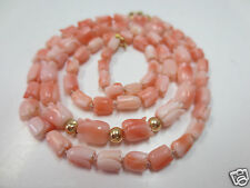 VTG 14K Y. Gold  Hand Carved Angel Skin Peach Coral Beaded Tulip Necklace 19""