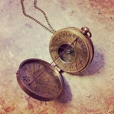 HOT SALE Thread Sundial / Compass Necklace Antique Brass, Nautical Vintage Style