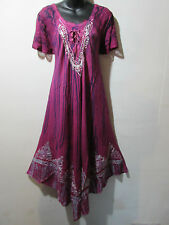 Dress Fits 1X 2X 3X Plus Long Pink Blue Tie Dye Lace Sleeves A Shaped NWT 6601