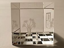 Steinbach Crystal Cube Sculpture Room Scene Optical Art Glass Paperweight Rare