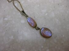 Antique Victorian Dragon's Breath Opal Pendant on Chain Necklace  / Jelly Opal