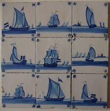 """11 ANTIQUE DUTCH DELFT TILES """"SHIPS"""" 19th century (c.1860-1900)"""
