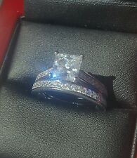 925 SILVER 1.5ct PRINCESS CUT DIAMOND ENGAGEMENT / BRIDAL RING SET SIZE J 1/2