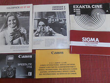 lot de 6 catalogues CANON - SIGMA - EXAKTA - COLORPACK - SWINGER - ( ref 20 )