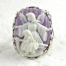 Guardian Angel Cameo Ring .925 Sterling Silver Jewelry Purple Resin Size Select