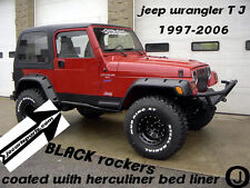 JEEP TJ DIAMOND PLATE black SIDE ROCKER PANEL with cut out SET OF 2. 5 3/4 WIDE.