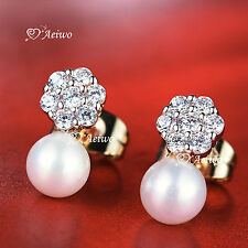 18K YELLOW WHITE GOLD GF SWAROVSKI CRYSTAL PEARL FLOWER STUD EARRINGS SMALL CUTE