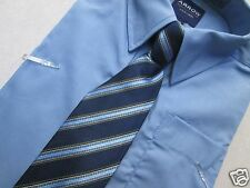 Boys longsleeves button shirt with tie blue navy oxford Holiday New $26 NWT 4T 4