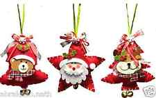 1 DECORATION DE NOEL A SUSPENDRE SAPIN PERE NOEL RENNE OURSON