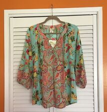 Small New - ANTHROPOLOGIE FIG AND FLOWER TUNIC BOHO PEASANT TOP BLOUSE FLORAL
