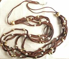 ZARA VERY LONG MULTI ROW NECKLACE_RICH BROWN FAUX SUEDE_MATT GOLD & SILVER - NEW